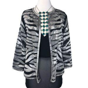 Silver Snake Vegan Leather & Black Nylon Mesh Coat